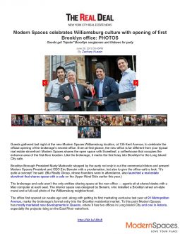 The Real Deal – Modern Spaces celebrates Williamsburg culture with opening of first Brooklyn office
