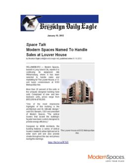 Brooklyn Eagle – Modern Spaces takes over sales at Louver House
