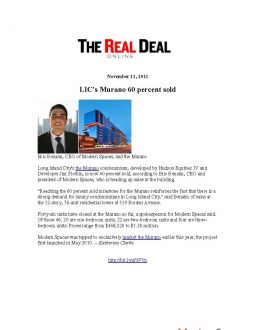 The Real Deal – LIC's Murano's 60% Sold