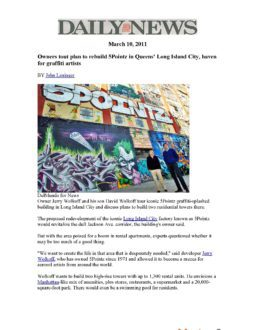 Daily News – Owners tout plan to rebuild 5Pointz in Queens' Long Island City, haven for graffiti art