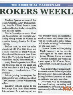 Brokers Weekly – Modern Spaces Hires 5 New Top Agents