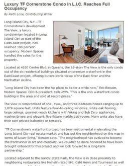 Luxury TF Cornerstone Condo in L.I.C. Reaches Full Occupancy – Multihousingnews.com