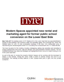 Modern Spaces Appointed New Rental & Marketing Agent for Former Public School Conversion on the LES