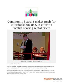 Community Board 2 makes push for affordable housing, in effort to combat soaring rental prices