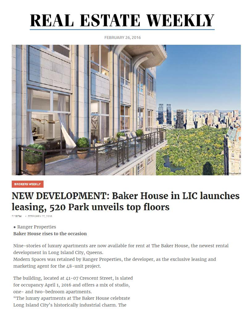 REW Online - NEW DEVELOPMENT, Baker House in LIC launches leasing, 520 Park unveils top floors - 02.26.16_Page_1