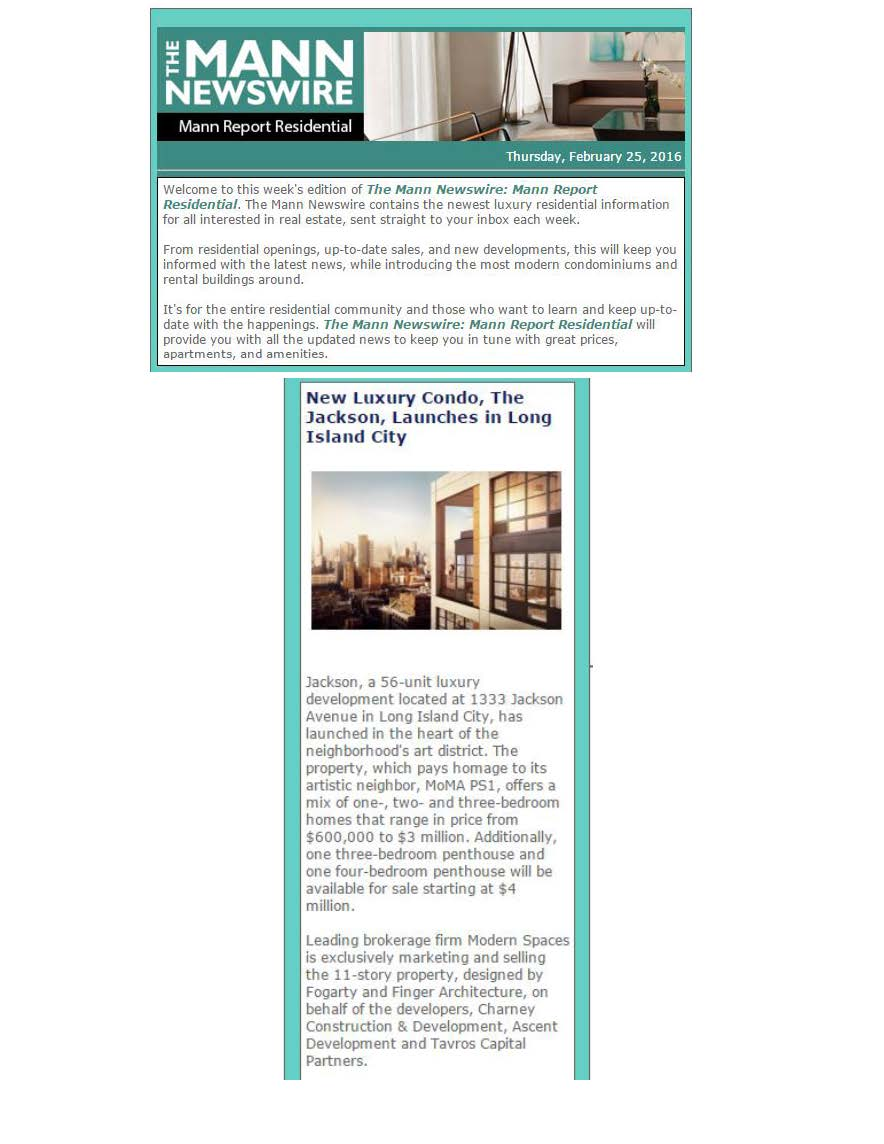 Mann Report Residential Newswire - New Luxury Condo, The Jackson, Launches in Long Island City - 02.25.16 (1)_Page_1