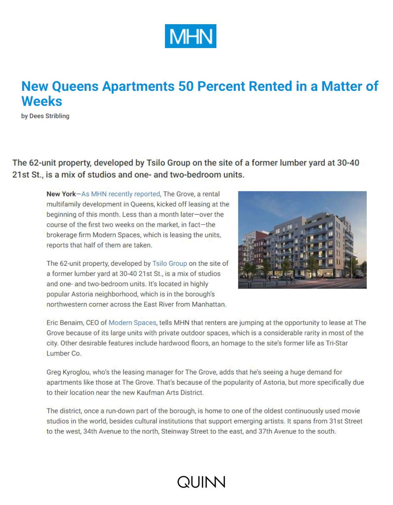 Multi-Housing News - New Queens Apartments 50 Percent Rented in a Matter of Weeks - 03.22.16