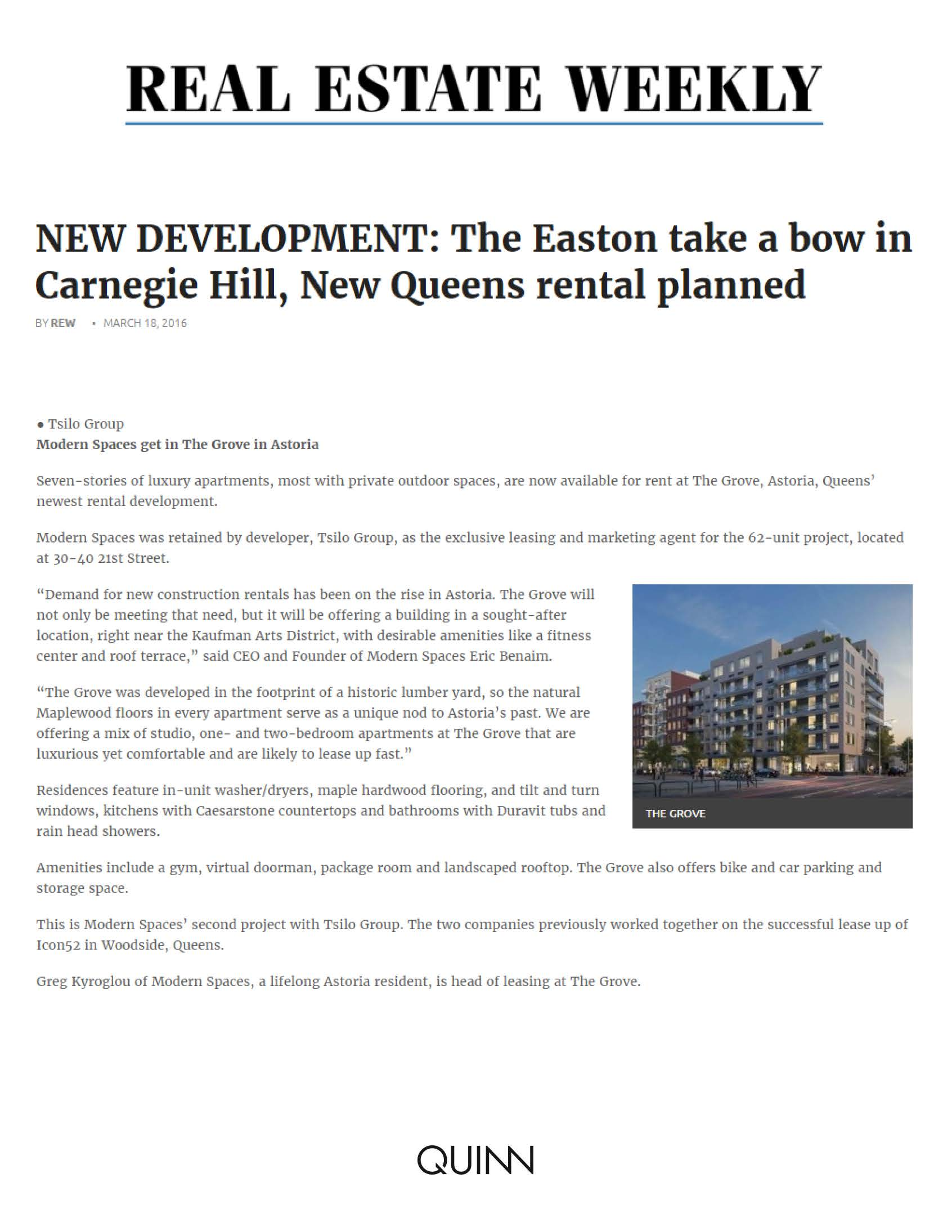Real Estate Weekly - NEW DEVELOPMENT The Easton take a bow in Carnegie H...