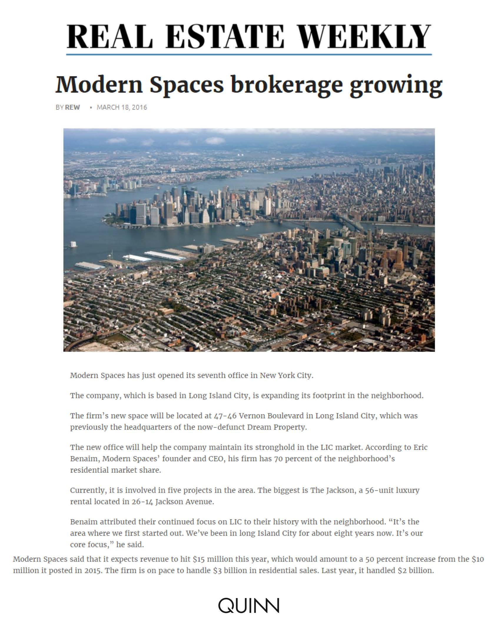 Real Estate Weekly Online - Modern Spaces brokerage growing - 03.18.16 (1)