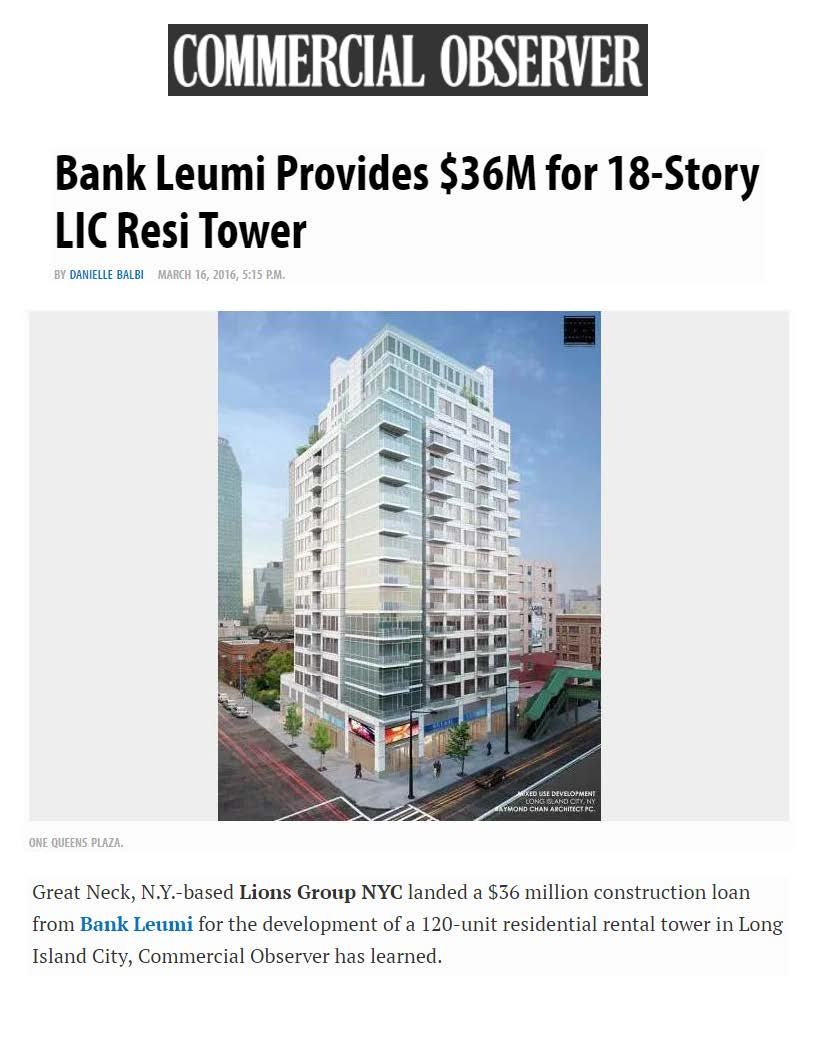 Commercial Observer Online - Bank Leumi Provides $36M for 18-Story LIC Resi Tower - 03.16.16 (1)_Page_1