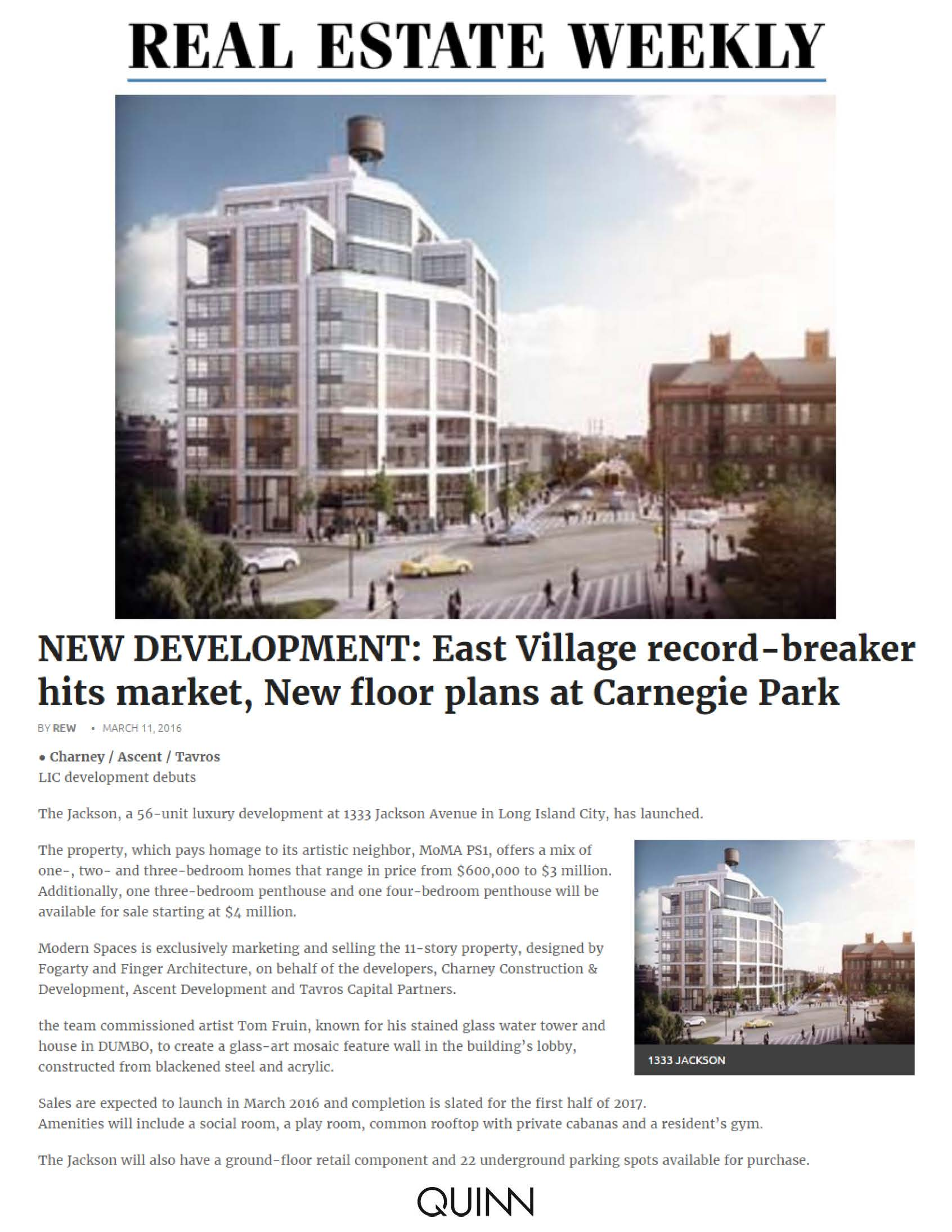 Real Estate Weekly - NEW DEVELOPMENT East Village record-breaker hits market, New floor plans at Carnegie Park - 03.11.16