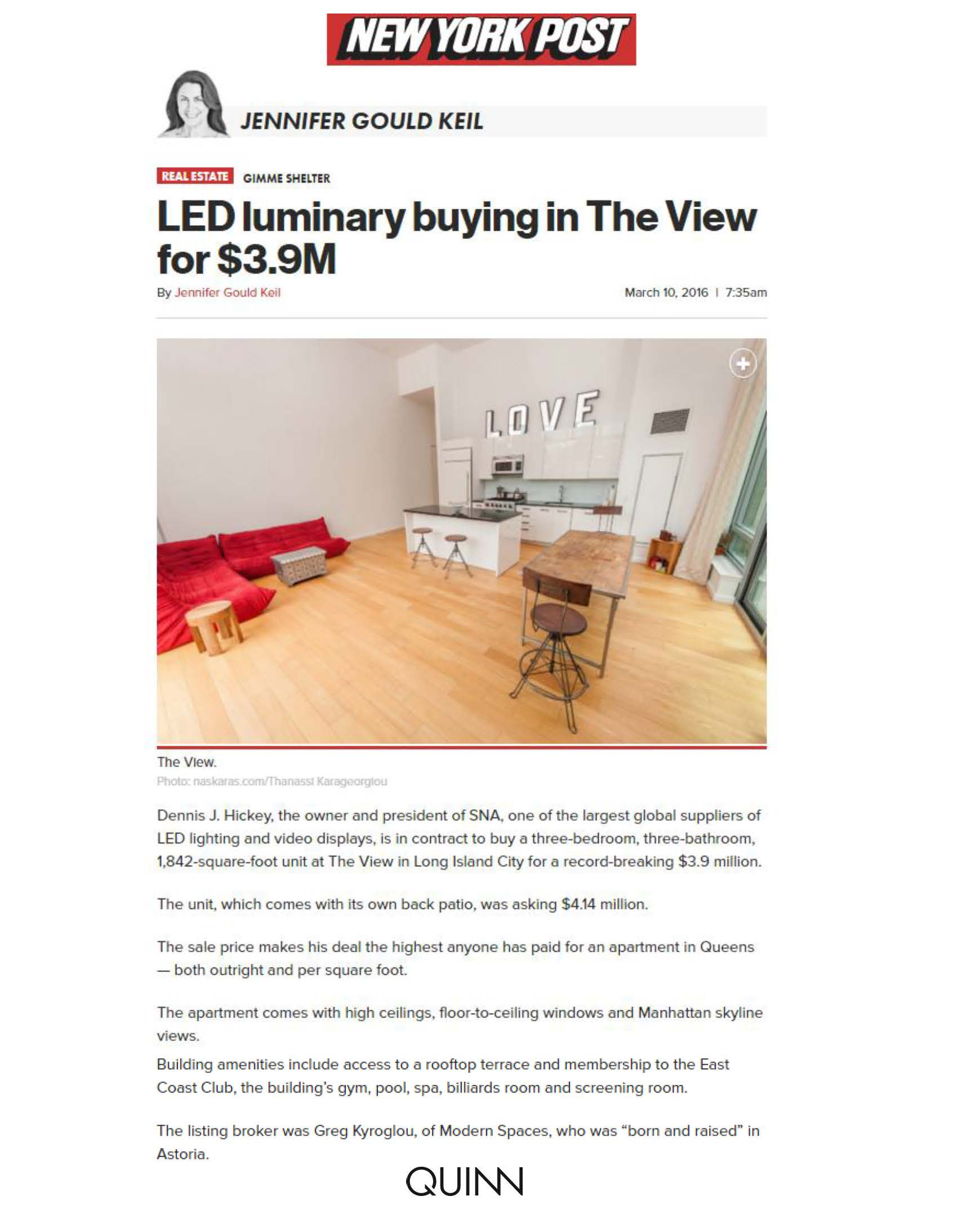 New York Post Online - LED luminary buying in The View for $3.9M - 3.10.16 (1)