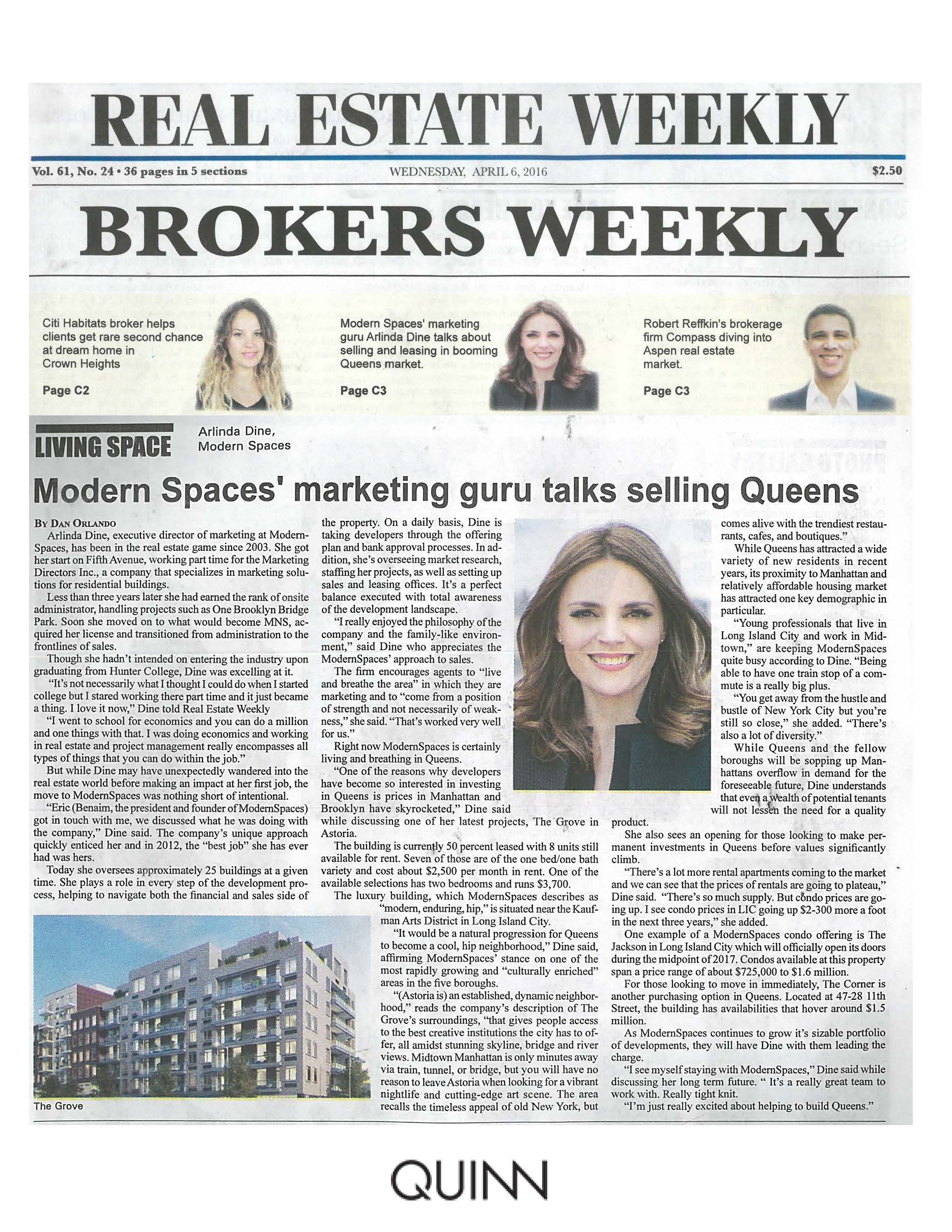 Real Estate Weekly- Modern Spaces' Marketing Guru Talks Selling Queens 4.6.16 (1)