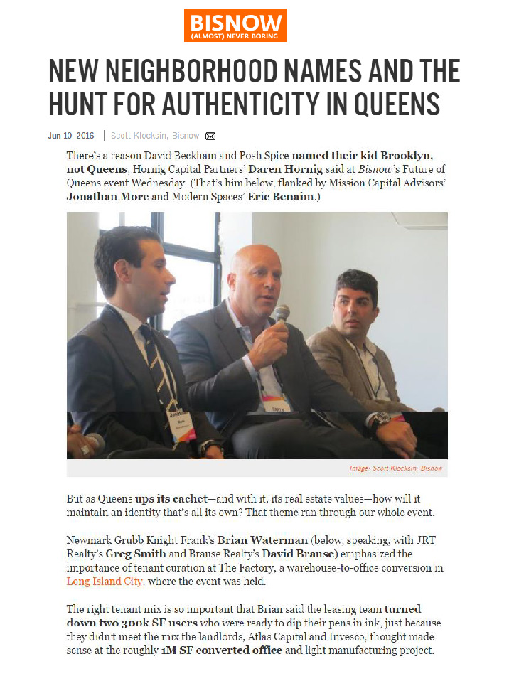 Bisnow - NEW NEIGHBORHOOD NAMES AND THE HUNT FOR AUTHENTICITY IN QUEENS ... (1)_Page_1