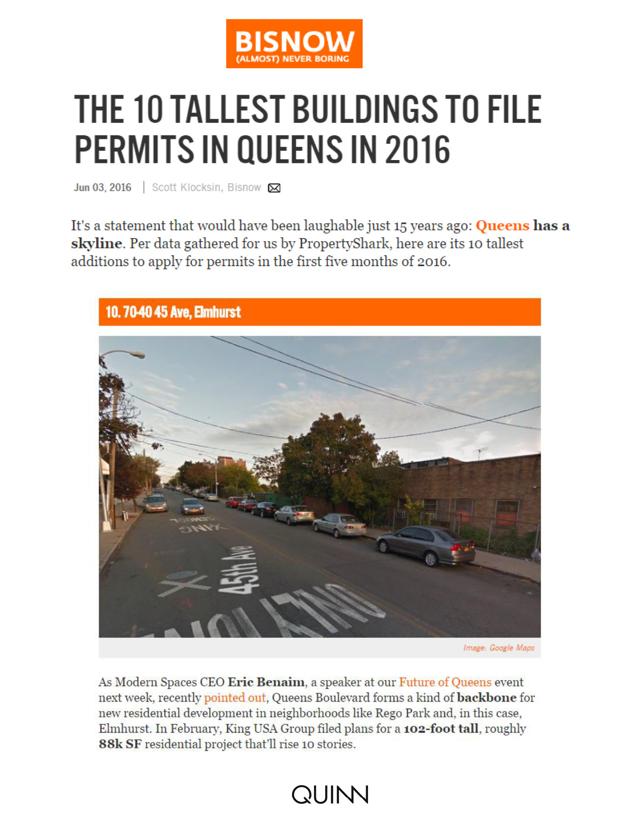 Bisnow - THE 10 TALLEST BUILDINGS TO FILE PERMITS IN QUEENS IN 2016 - 06...