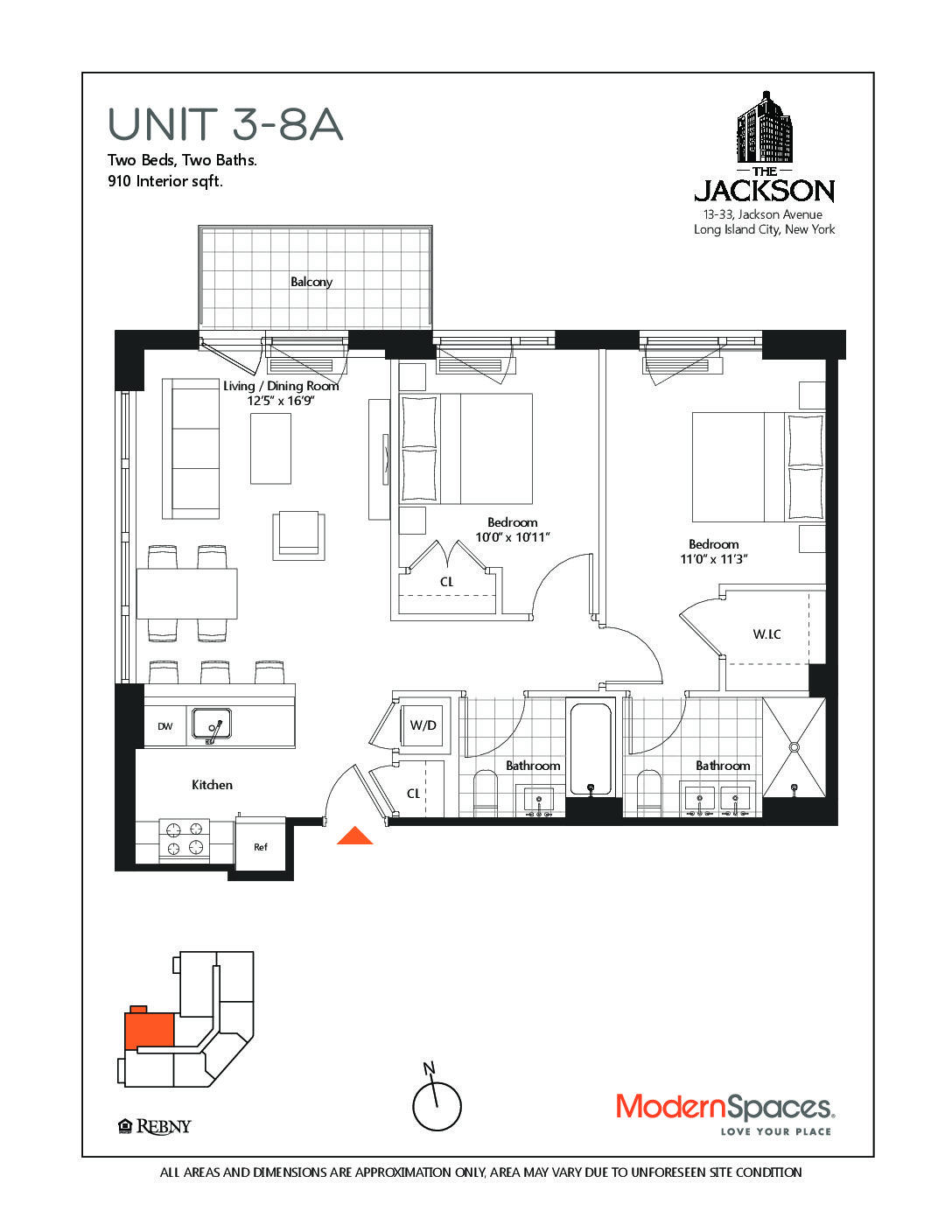 The Jackson, New to Market, 2 bedrooms, 2 full baths with balcony