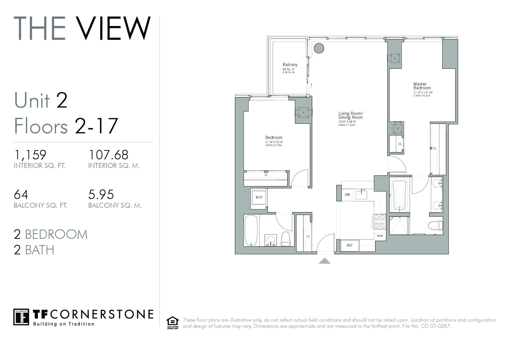 The View, high floor 2brs 2 baths with balcony and city views