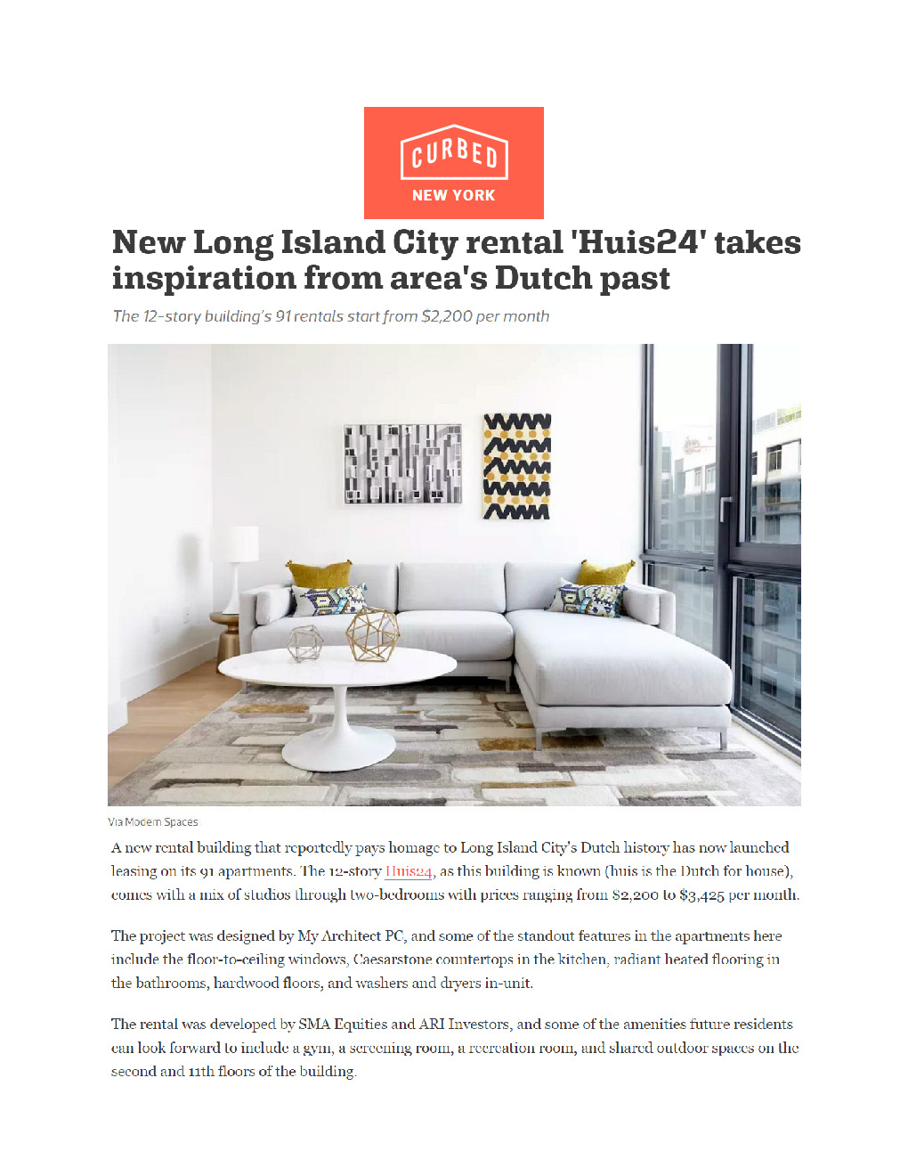 New Long Island City rental 'Huis24' takes inspiration from