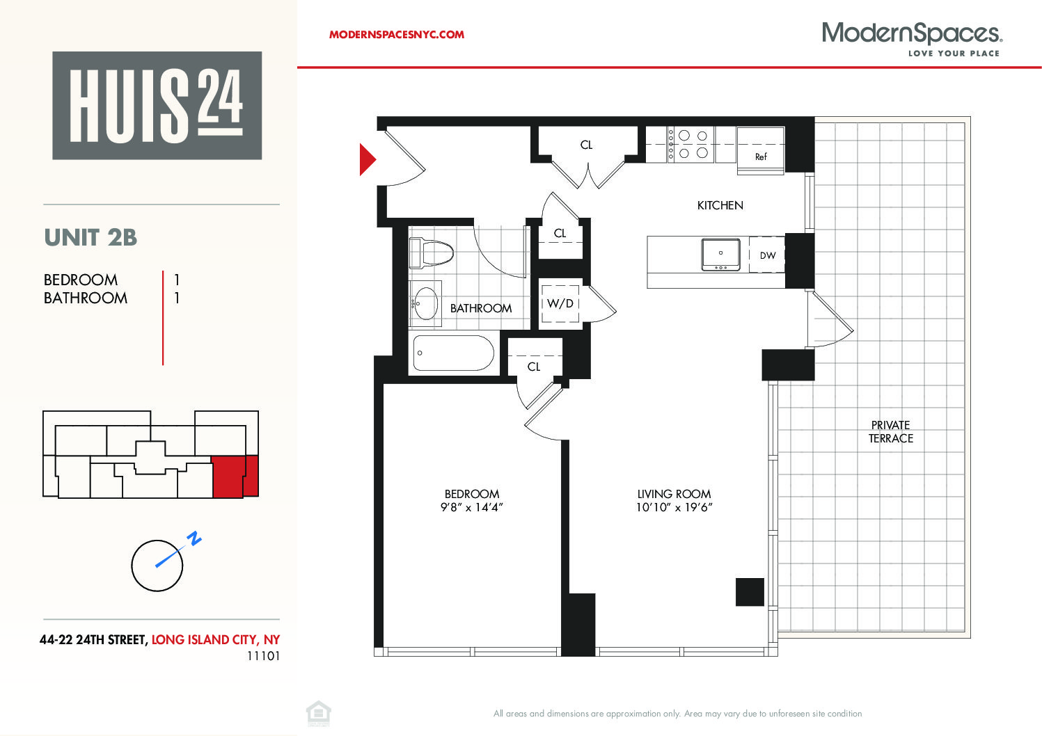 Huis24 – 1 Bed 1 Bath w/ Large Private Terrace