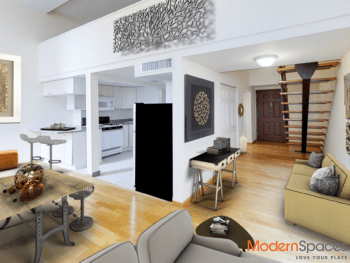 Spacious loft, oversized windows and unexpected extras; heated pool!